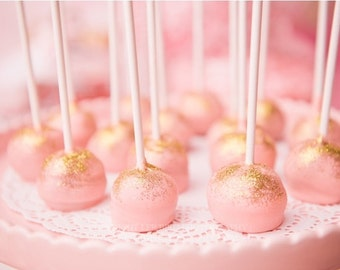Pink and Gold Sparkle Glitter Cake Pops - Baby Pink Paris/ Barbie inspired Cake Pops 12 Sweets Favors Party Birthday- Gold Glitter Pops