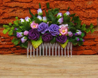Flower Hair Comb - Purple Wedding Flower Hair Comb, Wedding Hair Comb, Floral Hair Comb, Flower Hair Pin, Prom Hair Comb, Decorative Comb