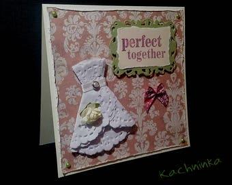 Vintage Wedding Dress, greeting card (green & pink options)
