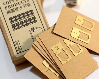 Numbered Brass Page Marker Clips - Bookmarks