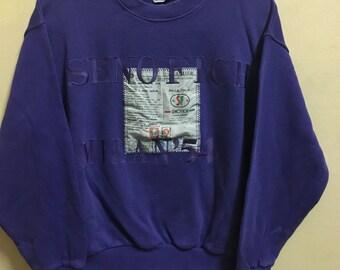 Vintage 90's Seno Fich Milano Sport Classic Design Skate Sweat Shirt Sweater Varsity Jacket Size M #A632