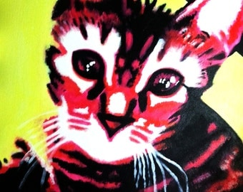 ACRYLIC Painting, Pop Art Portrait, 16x20 Canvas