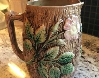 Antique Wild Rose Majolica Pitcher Vase Cottage Shabby Chic Bark