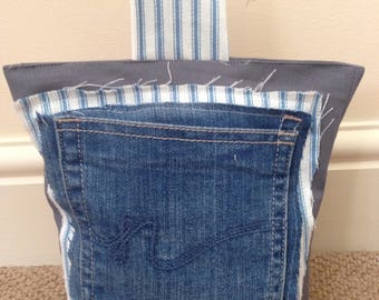 Denim Pocket Raw Edge Door Stop