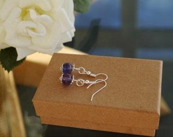 Purple Amethyst Earrings| Drop earrings| Gemstone
