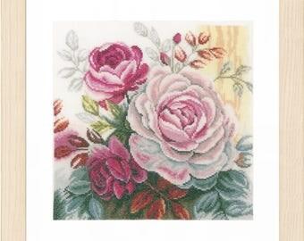 Lanarte Pink Rose Counted Cross Stitch Kit