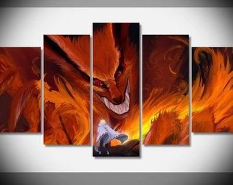 kyuubi Naruto print poster canvas in 5 pieces UNFRAMED