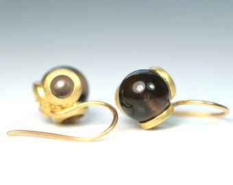 Earrings - smoky quartz - 750 Gelbgold