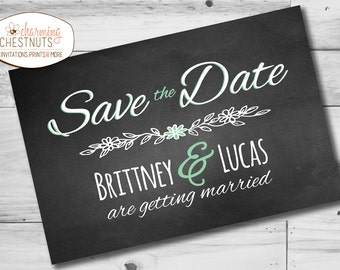 Chalkboard Save the Date Postcard, Mint wedding, Chalkboard wedding, Save the Date print, Rustic wedding, Barn wedding, calendar postcard