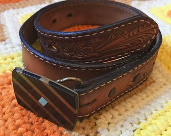 1970's Tooled Brown Leather Tony Lama Belt