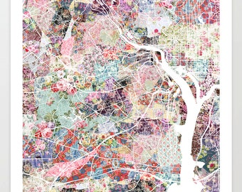 Arlington map VA | Arlington Painting | Arlington Art Print | Arlington Poster | Virginia map | Flowers compositions