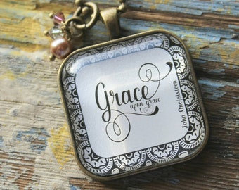 Necklace-Grace upon Grace-Bible Necklace-Handmade