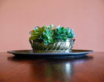 Oval Brass Planter, Double Handle, Succulent Planter, Fresh Herb Box, Embossed Detail, Rustic Patina Boho Decor