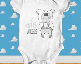 Big Hugs Baby Bodysuit | Animal Baby Bodysuit | Cute Baby Clothes | Funny Baby Bodysuit | Baby Shower Gift | Newborn Baby Clothes