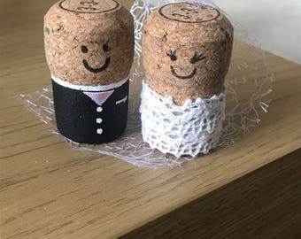 Bride and Groom Cork Cake Topper