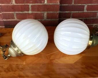 Pair of Vintage Mid Century Hollywood Regency Hanging Globe Light Fixtures