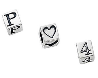 4.5mm Sterling Silver Letter Block Beads
