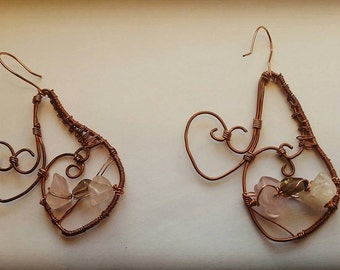 Heart and quartz wire wrap earrings, oxidized copper and gemstone earrings, rose quartz and smokey quartz wire wrap earrings, boho earrings