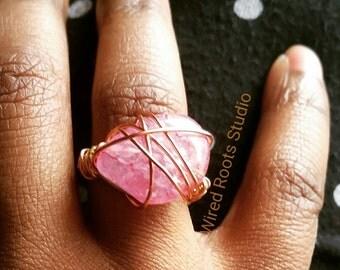 Cherry quartz ring, statement ring, wire wrap cherry quartz ring, gifts for her, ethnic ring, boho ring, chakra ring, quartz ring