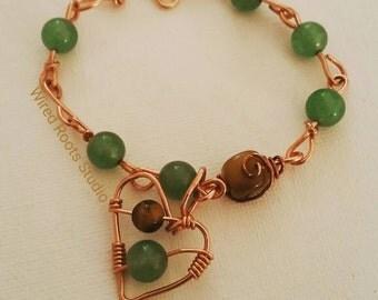 Aventurine bracelet, aventurine and tigers eye bracelet, Heart and links bracelet, copper  gemstone bracelet, gifts for her, boho bracelet