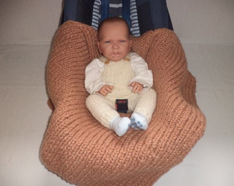 knitted baby blankets cot blanket wool Footmuff wrapping blanket Brown
