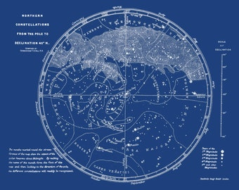 Sky Map, Constellations, Northern Sky, Map of Stars, Northern Constellations, Blue Map, Star Map, Northern Star Map, Zodiac Map, 147