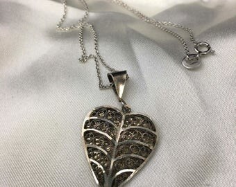 Vintage Sterling Silver Filigree Spun Style Heart Pendant Necklace