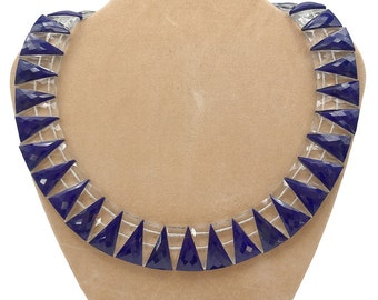 Gorgeous Lapis & Crystal 'Art Deco' style Collar Necklace