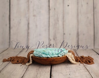 Newborn Photography Digital Backdrop Rustic Bowl - Aqua