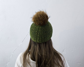 Wooly fur Pompom * ready to ship * green Knit Cap with Pompon for HER * green *.