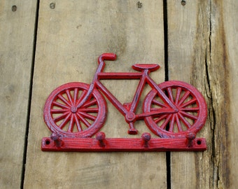 Red Bicycle Cast Iron Hook