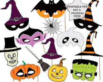 "Halloween party Photo booth Props: ""HALLOWEEN MASKS"" printable masks photo booth props kids masks props halloween photobooth party props"
