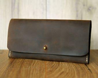Leather purse ladies wallet handmade vintage Brown dark brown heritage leather goods