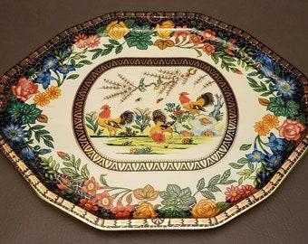 Vintage Daher Decorated Ware 11101 Large Tin Tray Made in England Rooster Floral Design