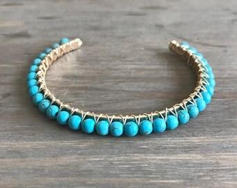 Turquoise Cuff Bracelet // Gold Bangle Bracelet // 18k Gold // Sun and Moonstone