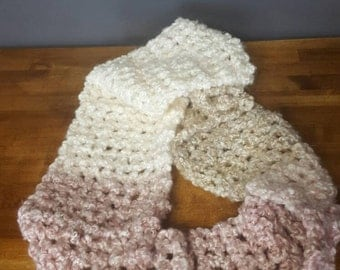 Crocheted ombre infinity scarf, handmade winter accessory