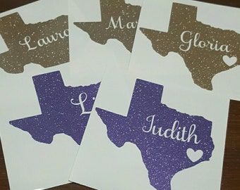 Yeti Decal / Tumbler and Decal / RTIC / Tumbler Decal / Name Texas Decal / State Decal / Glitter Decal / Personalized Decal / Cup Sticker