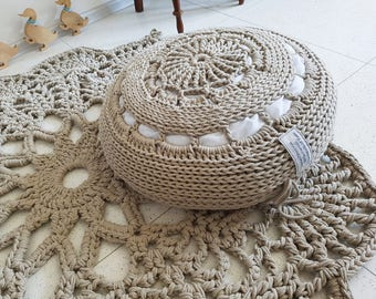 Chunky Knitting Beige Pouf/ Handmade Pouf/ Coussion / Pouff/ Crochet  Pillow/ Large