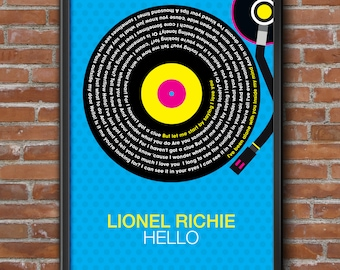 Lionel Richie - Stuck On You Song Lyrics Wall Art Poster Print.