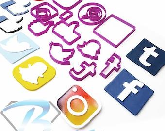 Social Media Icons - Choose from 7 Logo designs for Popular Platforms. 5cm 7cm 10cm