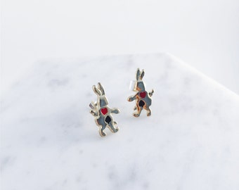 Alice in Wonderland earrings; rabbit earrings; bunny earrings