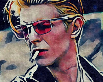 David Bowie Digital Art Print | The Thin White Duke Digital Art Print | Matte Paper Print | Original Gouache Painting | Music Poster Art