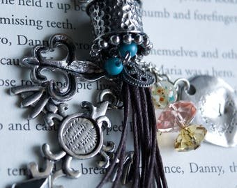 Cross silver multiple charms Steampunk Long necklace