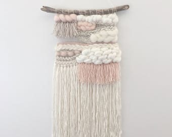 Woven wall hanging // MADE TO ORDER / Wall Hanging / Blush Pink Taupe Cream White Neutral / Nursery Art / Home Decor / Boho / Wall Art /