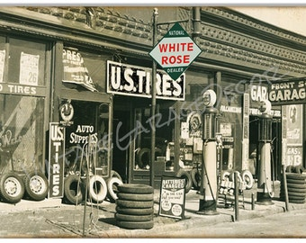 "Reproduction "" White Rose Dealer - U.S. Tire Garage "" Scene ( Metal Sign )"