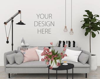 Blank Wall Mockup Frame Art Living Room Coffee Table Picture Poster Print White Interior