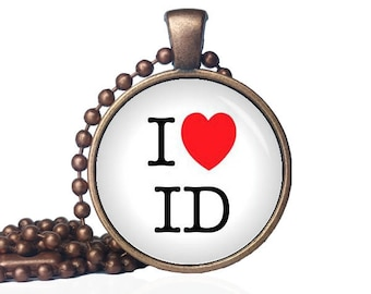 I Love Idaho - I Heart ID - I Heart Idaho - State Love - Idaho Necklace - State Necklace - State Pride - I Love Idaho - Idaho Gift
