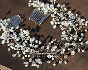 Crystal Pearl Headband  Wedding Hair Accessories crystal and pearl twigs Hair vine Bridal Headpiece wedding  Wreath veil halo boho jewelry