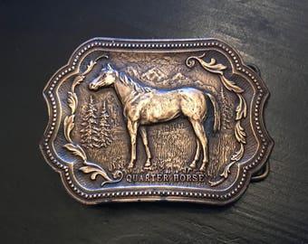 Vintage Quarter Horse Tiffany Studio Brass Belt Buckle, Horse Lover's Gift, Vintage Horse Buckle, Cowboy Belt Buckle