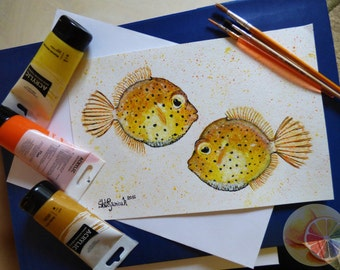 "Yellow Boxfish Painting, Fish Painting, 8""x12"", Acrylic on watercolor paper, original hand painted artwork, home decor, kitchen wall decor"